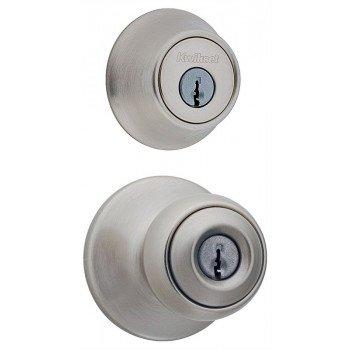 Kwikset 690P15CP6ALRCSK6 Knob Lockset, 3 Grade, Keyed Key, Satin Nickel, 2-3/8 x 2-3/4 in Backset, K6 Keyway