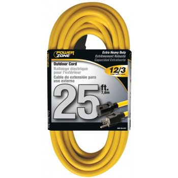 PowerZone OR500825 Extension Cord, 12 AWG, Yellow Jacket, 25 ft L