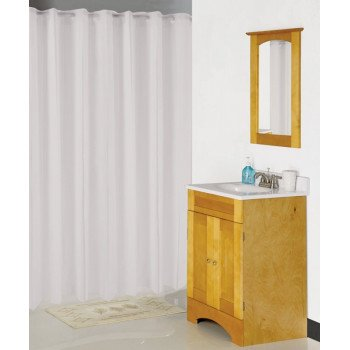 Simple Spaces XG-02-WH Hookless Shower Curtain, 72 in L, 70 in W, Vinyl, White