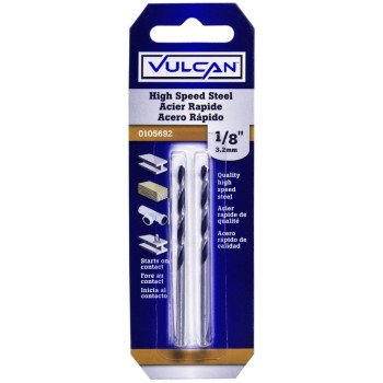 Vulcan Jobber Length Drill, 1/8 In Dia X 2-3/4 In L, Straight Shank, High Speed Steel