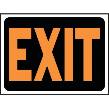HY-KO Hy-Glo 3003 Identification Sign, Exit, Fluorescent Orange Legend, Plastic, 12 in W x 8-1/2 in H Dimensions