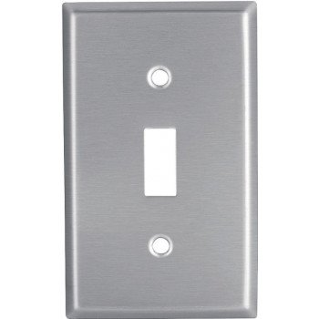 EATON 93071-BOX1 Toggle Switch Wallplate, 4-1/2 in L, 2-3/4 in W, 1 -Gang, Stainless Steel, Clear, Satin