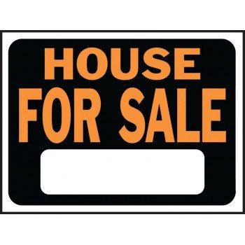 HY-KO Hy-Glo 3004 Identification Sign, House For Sale, Fluorescent Orange Legend, Plastic