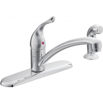 Moen Chateau 7430 Kitchen Faucet, 1.5 gpm, 1-Faucet Handle, Stainless Steel, Chrome, Deck Mounting, Lever Handle