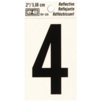 HY-KO RV-25/4 Reflective Sign, Character: 4, 2 in H Character, Black Character, Silver Background, Vinyl