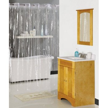 Simple Spaces XG-02-CL Hookless Shower Curtain, 72 in L, 70 in W, Vinyl, Clear