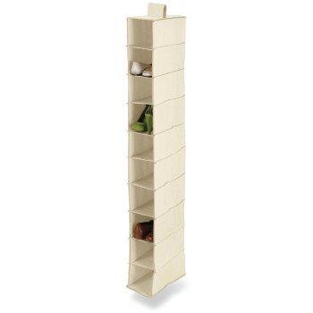Honey-Can-Do SFT-01254 Closet Organizer, 12 in W, 54 in H, 10-Shelf, Canvas, Beige